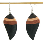 Kapok wood earrings, 'Dark Mystery'