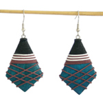 Kapok wood earrings, 'Blue Petals'