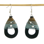 Kapok wood earrings, 'Mountain Trek'