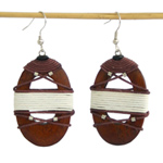 Kapok wood earrings, 'Tribal Shields'
