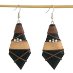 Kapok wood earrings, 'Black Talisman'