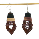 Kapok wood dangle earrings, 'Beauty Trap'
