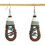 Kapok wood dangle earrings, 'Joyful Tears'