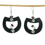 Garnet and wood earrings, 'Black Croissants'