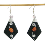 Carnelian and wood earrings, 'Orange Flowers'