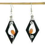 Carnelian and wood earrings, 'Black Lozenges'