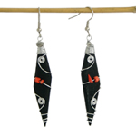 Kapok wood and ceramic earrings, 'Red Orchards'