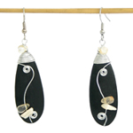 Quartz and wood dangle earrings, 'Falling Rocks'
