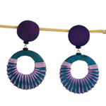 Kapok wood clip-on earrings, 'Moon Maze'