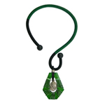 Kapok wood and jasper necklace, 'Green Cobra'
