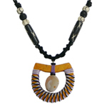 Kapok wood and quartz necklace, 'Yellow Swing'