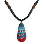 Kapok wood and agate necklace, 'Lucky Day'