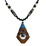 Kapok wood and agate necklace, 'Rustic Diamond'
