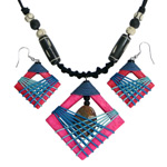 Kapok wood and jasper jewelry set, 'Heart Catcher'