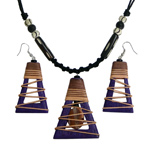 Kapok wood and jasper jewelry set, 'Purple Bells'