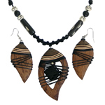 Kapok wood and onyx jewelry set, 'Earth Droplets'