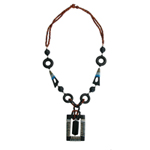 Kapok wood and onyx necklace, 'Black Majesty'