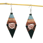 Kapok wood earrings, 'Black Diamonds'