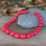 Kapok wood necklace, 'Red Bubbles'
