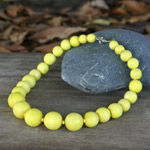 Kapok wood necklace, 'Yellow Bubbles'