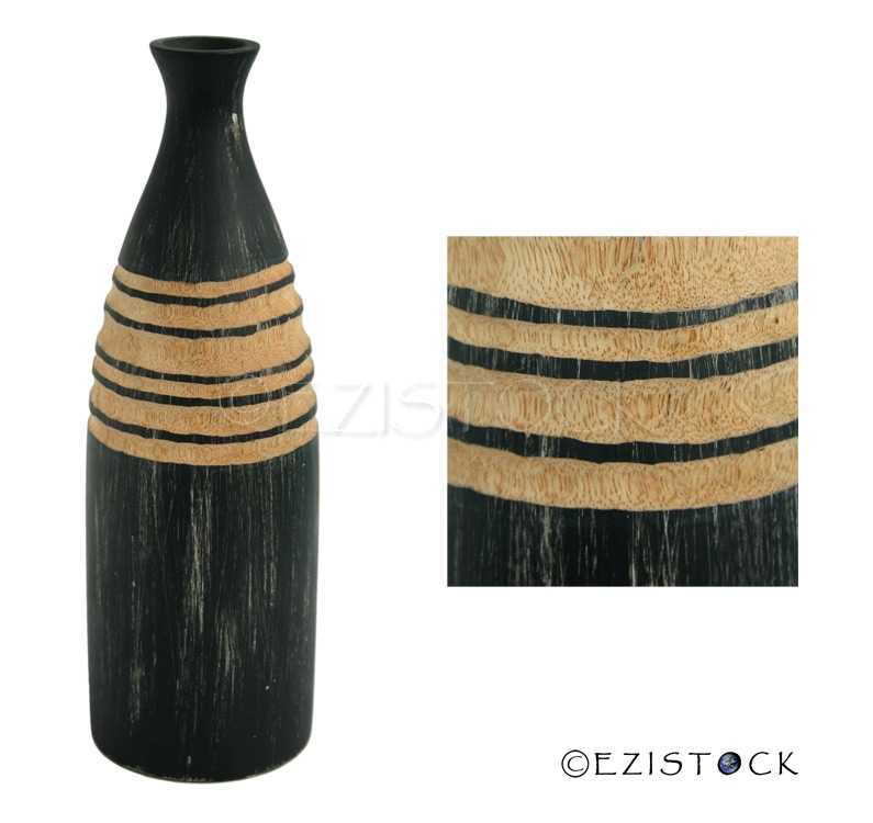 Mango wood vase, 'Abstraction' - Click Image to Close