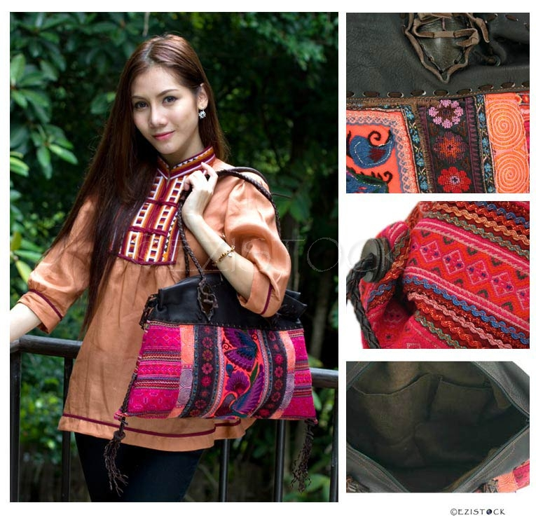 Leather and cotton shoulder bag, 'Ethnic Vibrancy' - Click Image to Close