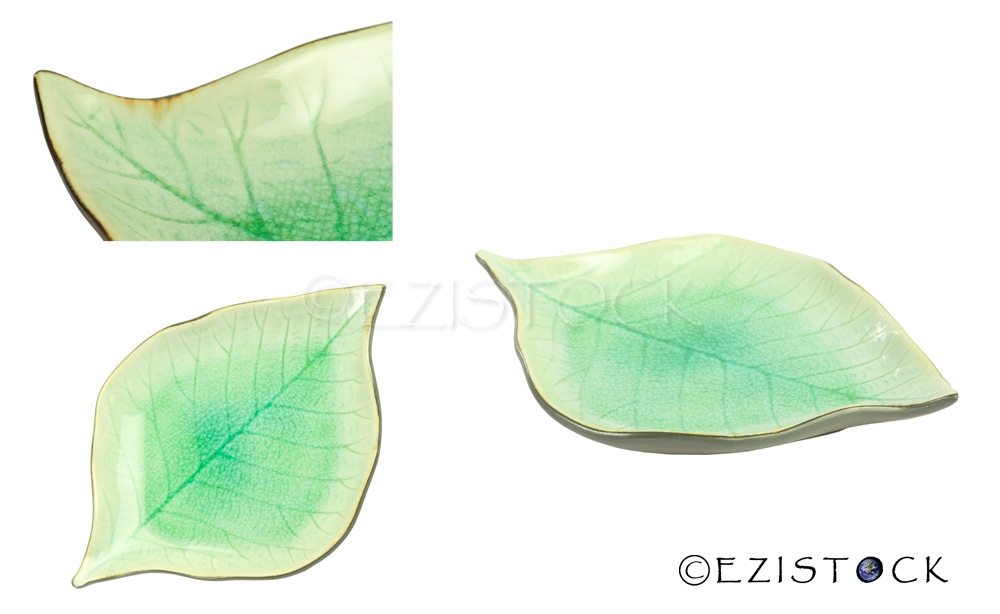 Ceramic container, 'Teak Leaf' - Click Image to Close