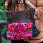Leather and cotton shoulder bag, 'Ethnic Elegance'