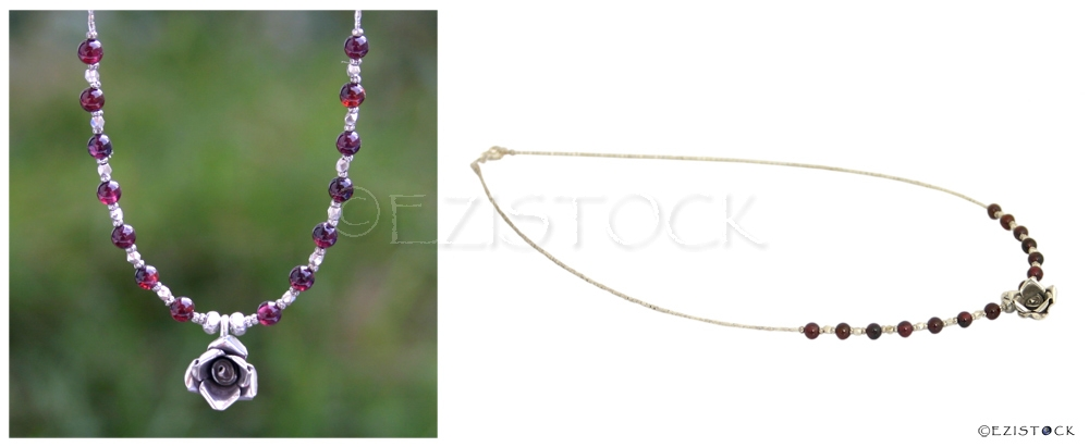 Silver and garnet necklace, 'Lucky Rose' - Click Image to Close