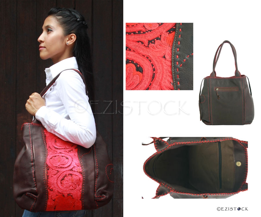 Leather and cotton shoulder bag, 'Princess' - Click Image to Close