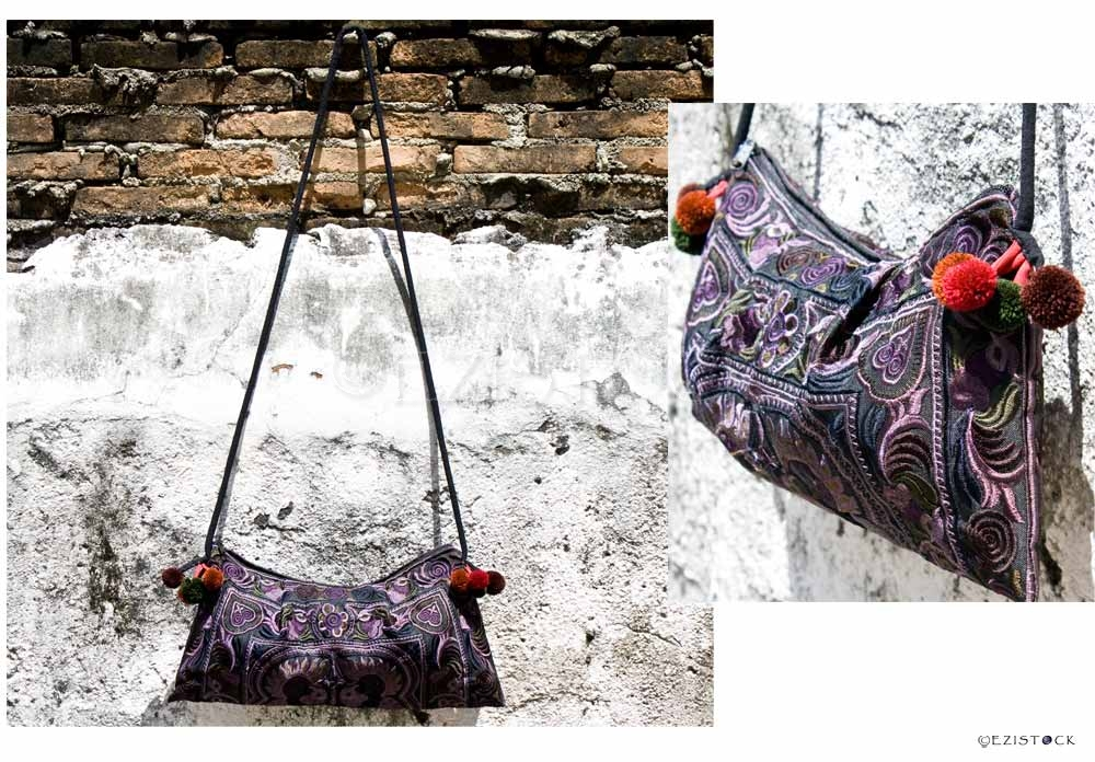 Cotton shoulder bag, 'Hill Tribe Magic' - Click Image to Close