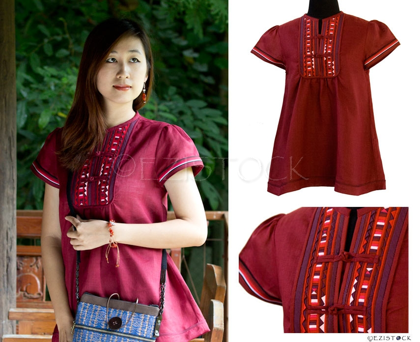 Linen and cotton blouse, 'Strawberry Passion' - Click Image to Close
