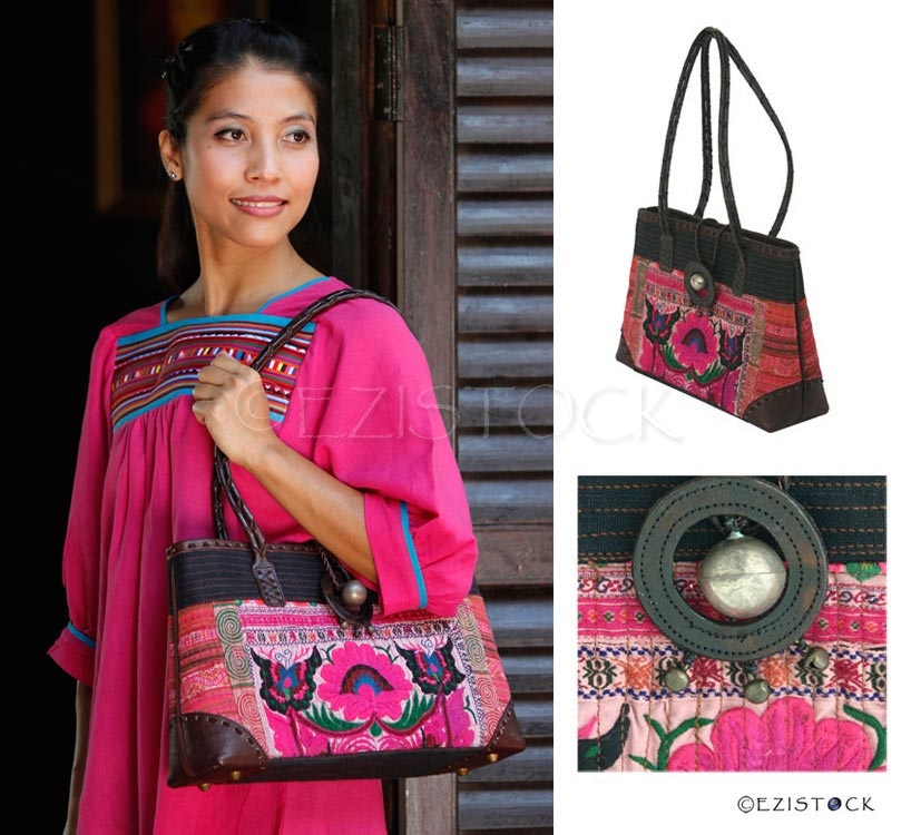 Leather and cotton shoulder bag, 'Pink Poppy' - Click Image to Close