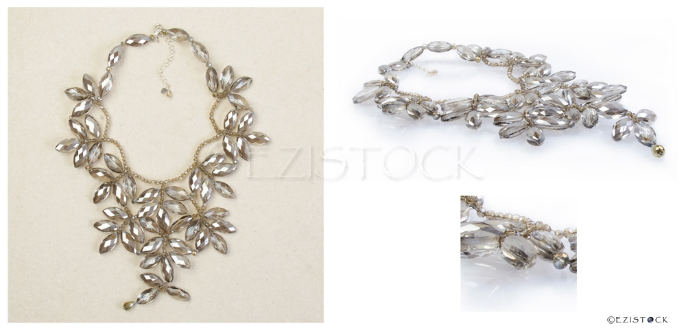 Glass flower necklace, 'Versailles' - Click Image to Close