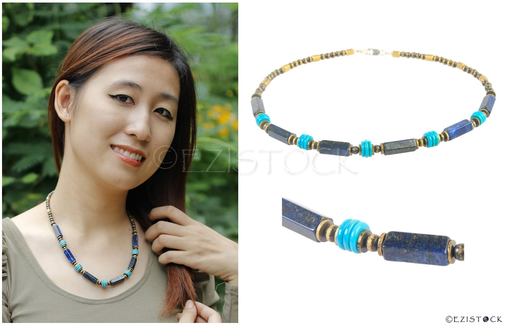 Lapis lazuli and turquoise necklace, 'Third Eye' - Click Image to Close