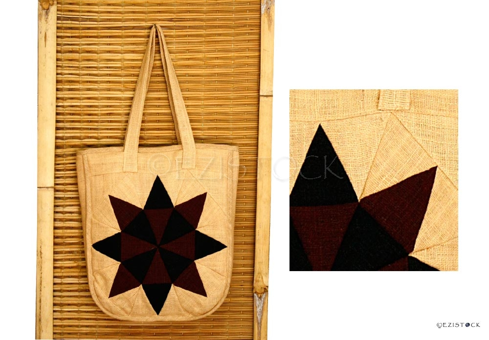 Cotton shoulder bag, 'Midnight Kaleidoscope' - Click Image to Close
