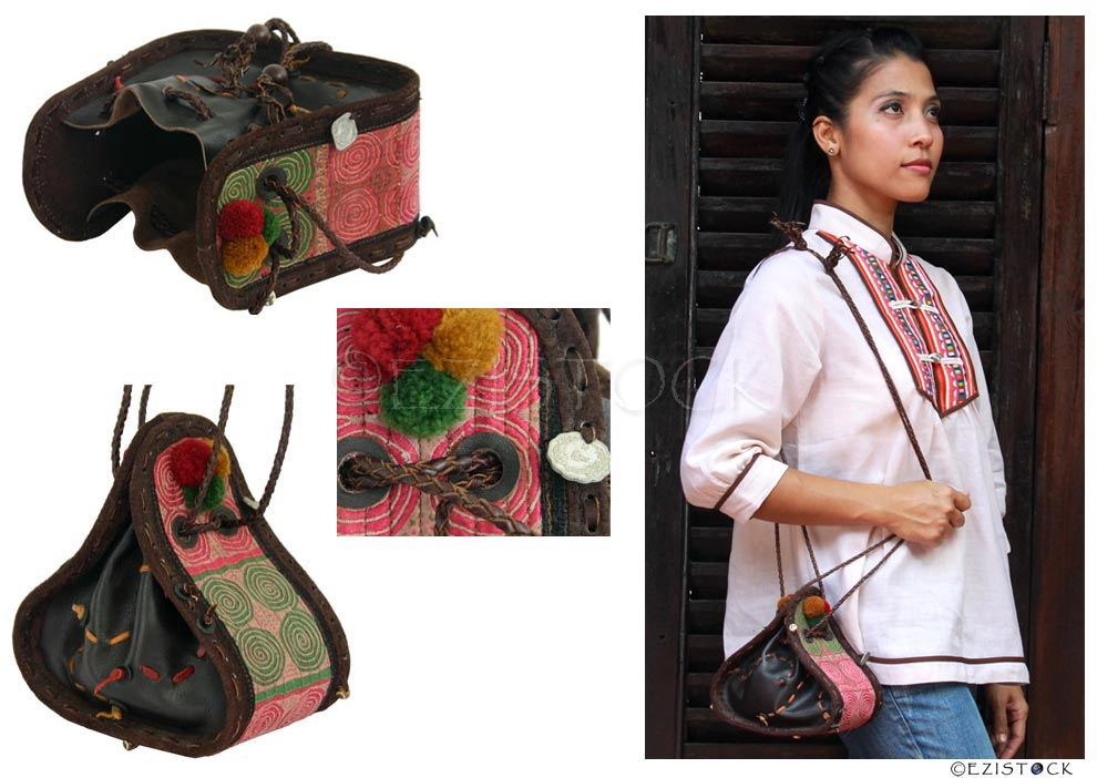 Leather and cotton shoulder bag, 'Hill-Tribe Flower' - Click Image to Close