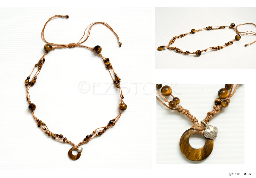 Tiger's eye and silver necklace, 'Full Moon' - Click Image to Close