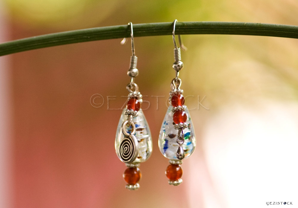 Carnelian and glass earrings, 'Siam Kiss' - Click Image to Close