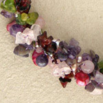Amethyst and garnet cluster necklace, 'Thai Garland'