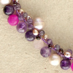 Amethyst and garnet cluster necklace, 'Delightful Berries'