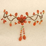 Carnelian flower choker, 'Orange Bride'