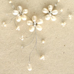 Pearl and glass flower necklace, 'White Sisters'