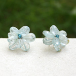 Topaz button earrings, 'Translucent Flowers'