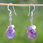 Amethyst dangle earrings, 'Prunes'