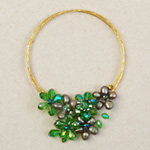 Pearl and glass choker, 'Green Bouquet'