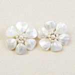 Pearls and mop clip-on earrings, 'Ice Flower'