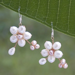Silver and pearl flower earrings, 'Pink Dawn'