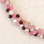 Garnet and rose quartz cluster necklace, 'Pink Mystery'
