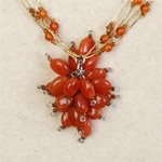Carnelian cluster necklace, 'Orange Droplets'